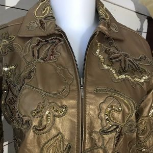 Gorgeous Chico's Leather w/embroidery and Sequins